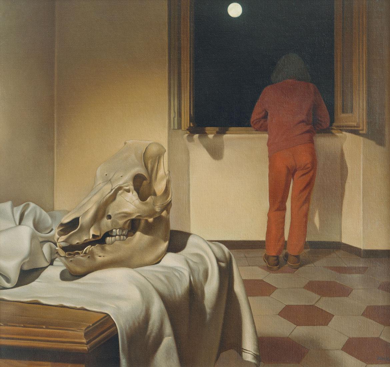 Luna e teschio - 43x46 cm - 1984 - olio su tela