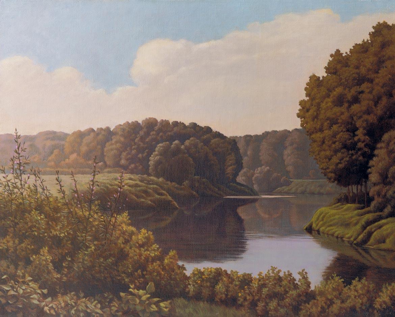 Mattino sul fiume - 40x50 cm - 1989 - olio su tela