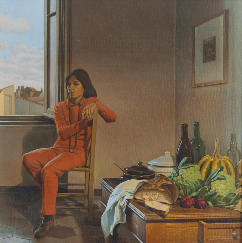 Natura morta e figura - 44x44 cm - 1984 - olio su tela riportata su tavola