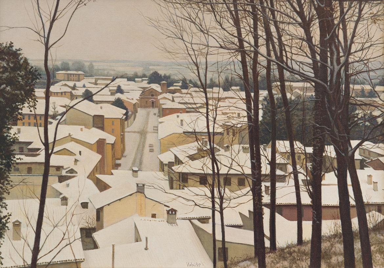Neve sul borgo - 24x30 cm - 1997 - olio su tela