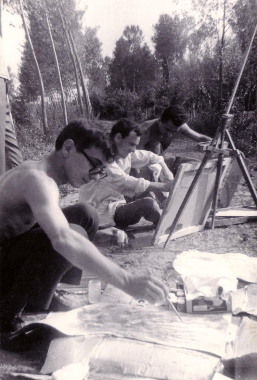 Da sinistra: Luigi Volpi, Felice Vanelli e Ugo Maffi, Lodi, 1960