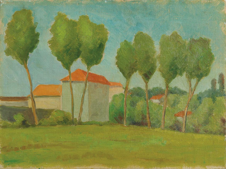 Paesaggio - 29x39 cm - 1958 - olio su tela