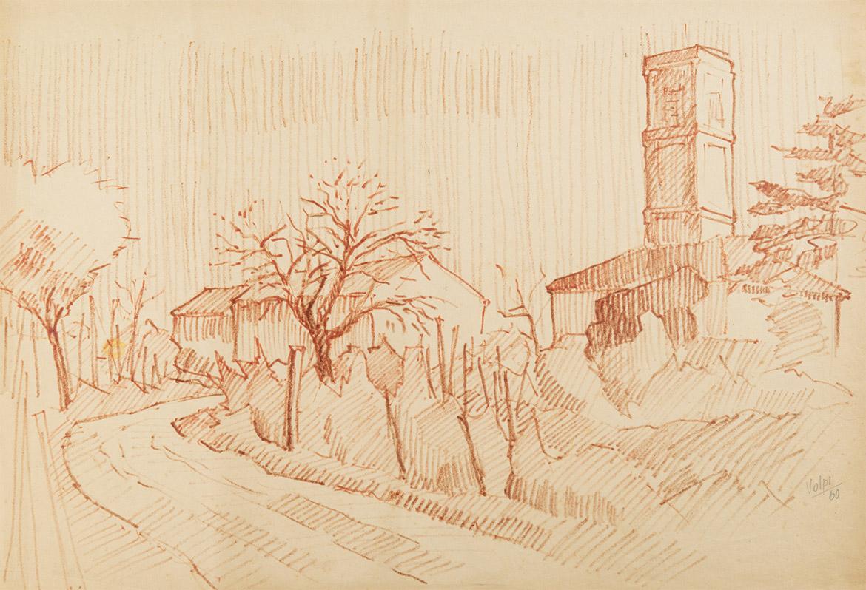 Paesaggio con campanile - 48x71 cm - 1960 - sanguigna su carta