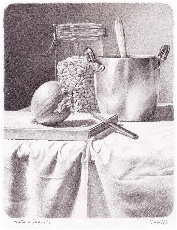 Pasta e fagioli - 24x19 cm - 1986 - matita su carta