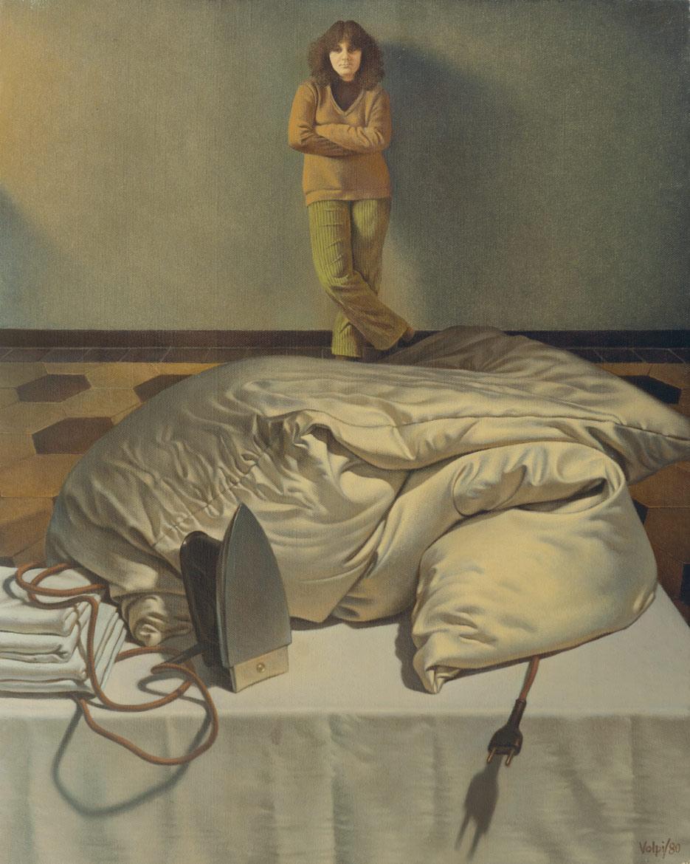 Piumone e figura - 50x41 cm - 1980 - olio su tela