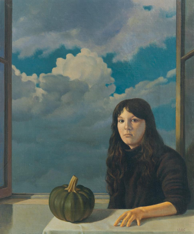 Ritratto con zucchina - 30x24 cm - 1979 - olio su tela