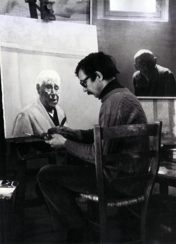 Luigi Volpi nello studio di via Lanzone Milano, 1973