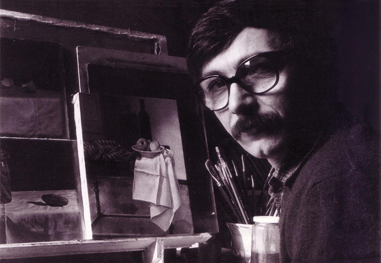 Luigi Volpi nello studio della Cascina Barona Milano, 1979
