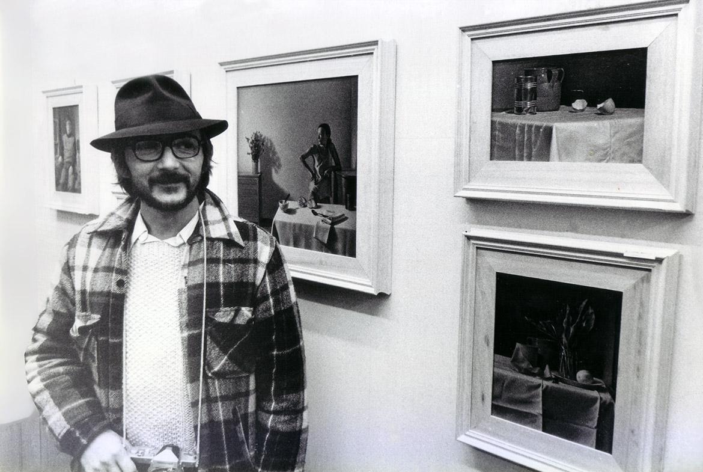 Luigi Volpi a una sua mostra - primi anni '80