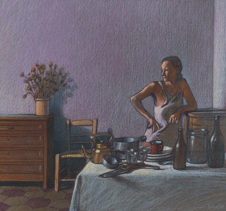 """Studio per """"Natura morta con figura"""" - 23x23 cm - 1980 - pastello su carta"""