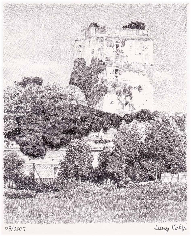 Torre di via Nicola, Pisa - 15x12 cm - 2005 - inchiostro su carta