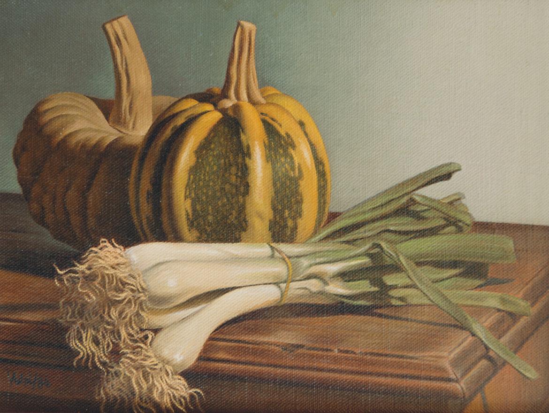 Zucchine e cipolle - 18x24 cm - 1984 - olio su tela